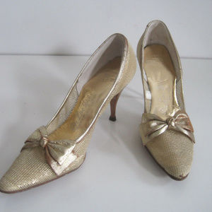 PALTER DeLISO Shoes Heels Gold VINTAGE 6 6.5 N